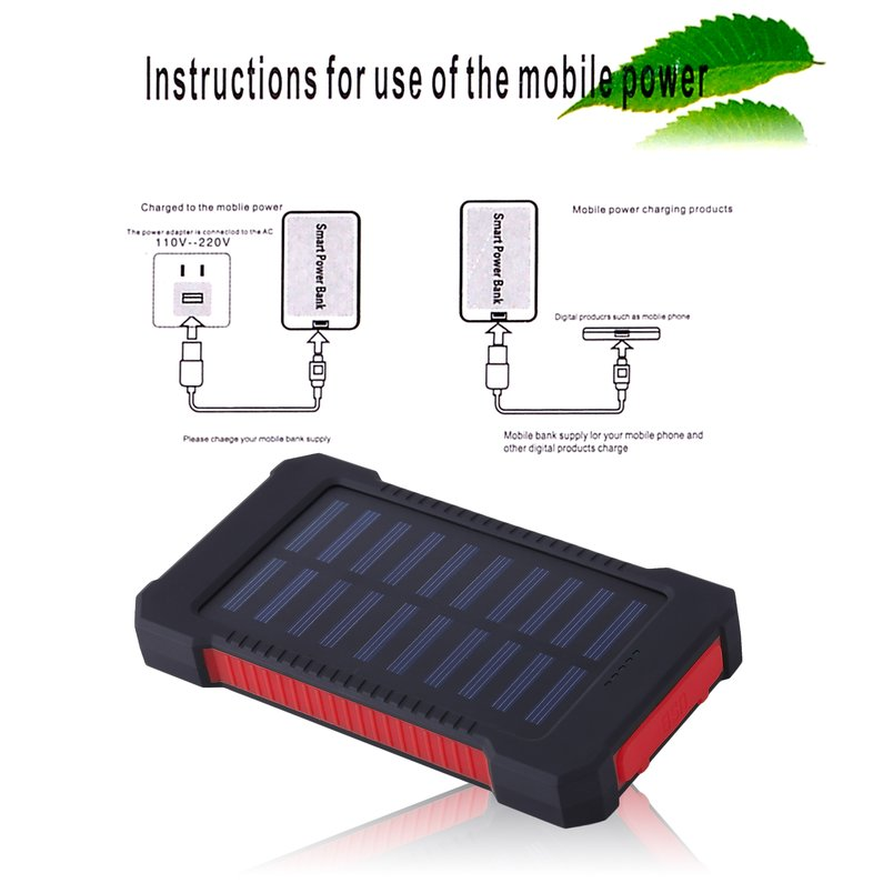 NEW Upgraded Portable Solar Battery Charger Dual USB Solar Power Bank External Battery For Mobile Phone 300000mAh Mobile Pover Bank(Red)