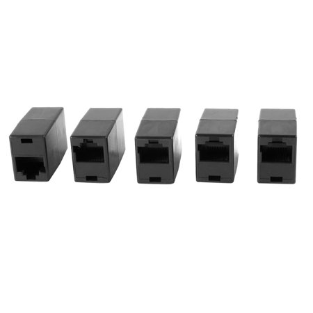 Unique Bargains Black RJ45 8 Pin Female Modular Lan Ethernet Straight Coupler Connector 5 Pcs