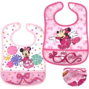 Disney Minnie Mouse Waterproof Baby Bibs with Crumb Catcher and Velcro, 2 Pack