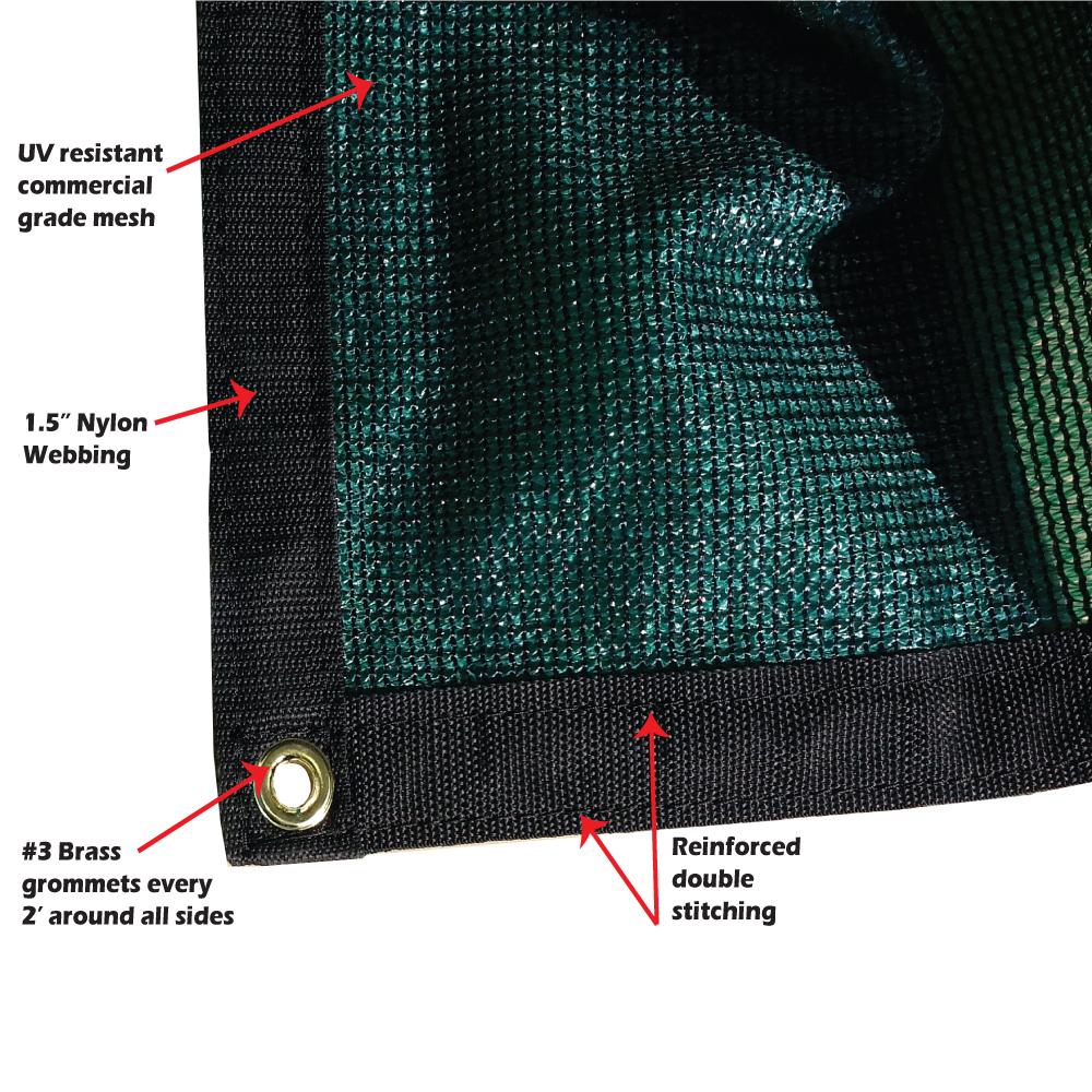 Xtarps -  12 ft. x 30 ft. -  7 OZ Premium 90% Shade Cloth, Shade Sail, Sun Shade (Green Color)