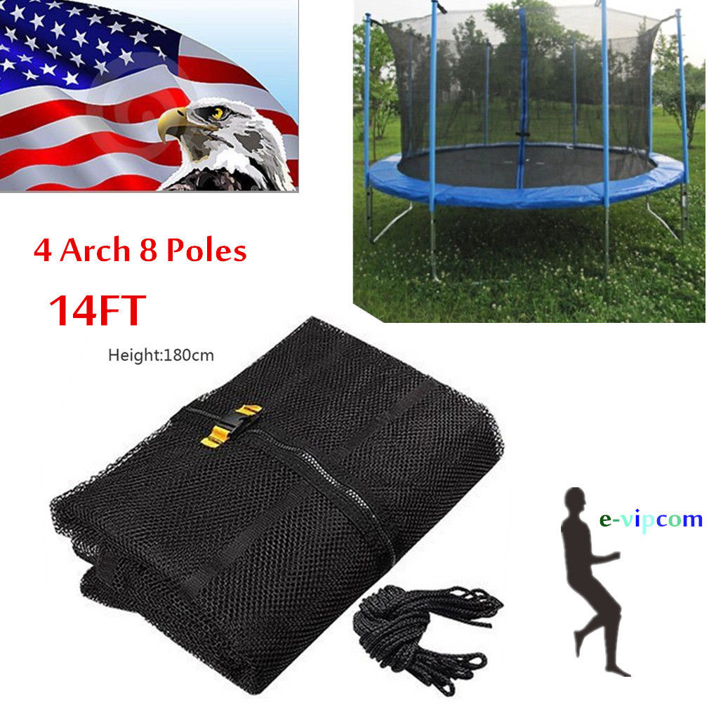 14ft 4 Arch 8Pole Round Trampoline Enclosure Net Fence Replacement Safety Mesh TR
