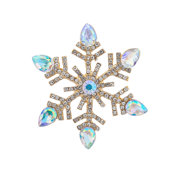 Lux Accessories Embellished Christmad Holiday Snowflake Brooch