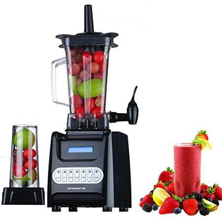 Ovente Electric Smoothie Maker Best Blender with Dispenser, 1000W, Large Jug & Travel Jar, Black