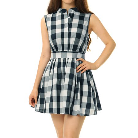 Unique Bargains Women Sleeveless Flared Check Print Belted