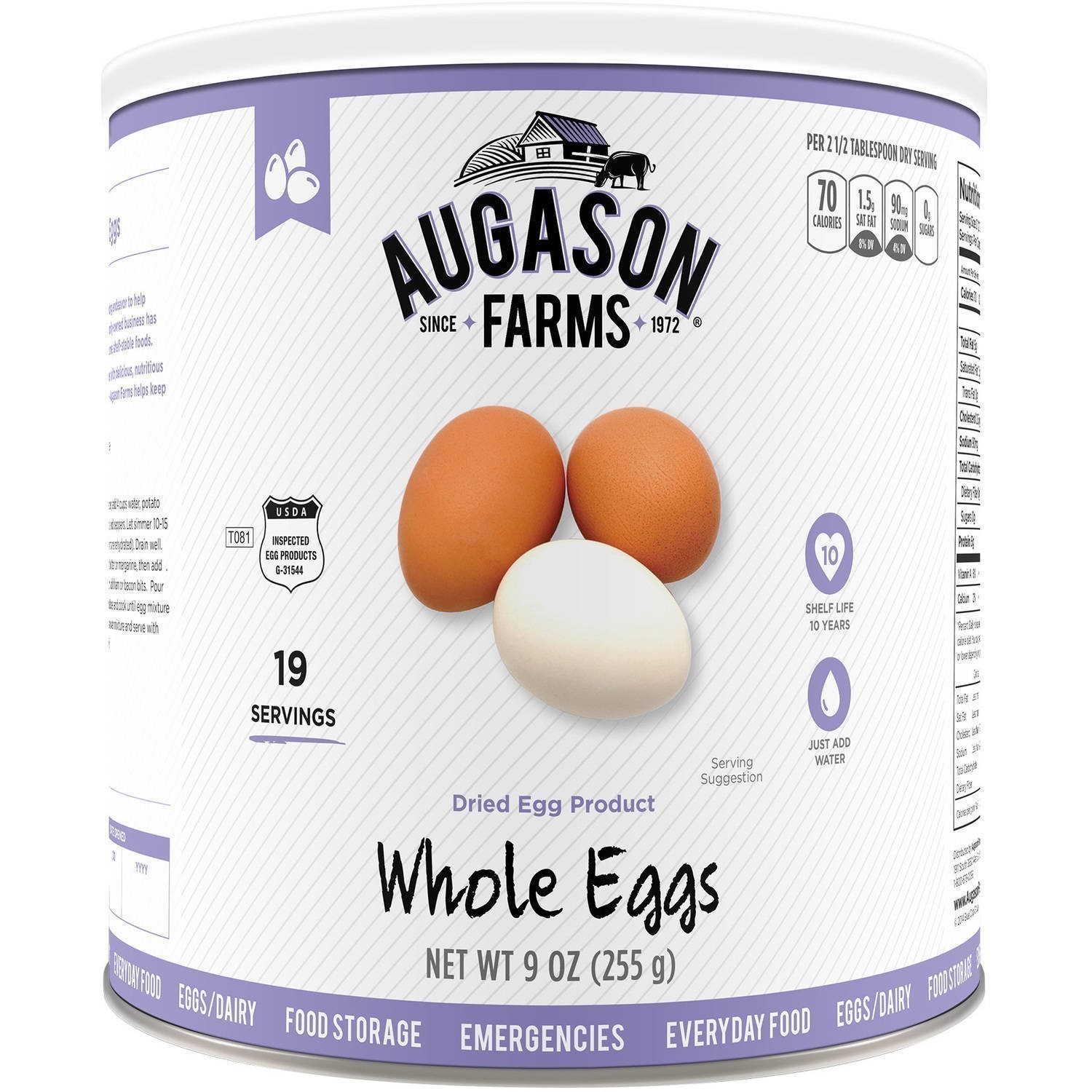 Augason Farms Whole Egg 9oz #2.5 Can