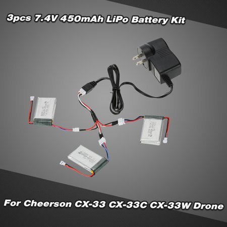 3Pcs Cx 33 001 7 4V 450Mah 2S Lipo Battery With Charger Cable For Cheerson Cx 33 Cx 33C Cx 33W Rc Tricopter