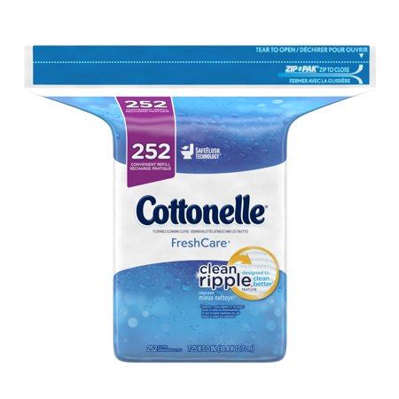 Cottonelle Flushable Cleansing Cloths Refills, Fresh Care, 252 Count