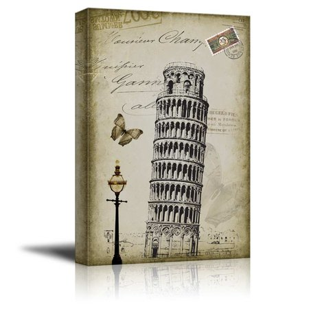 wall26 Beautiful drawing of of the Leaning Tower of Pisa Placed onto a Vintage Style Background - Canvas Art Home Decor - 16x24 inches