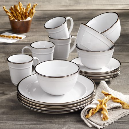 Better Homes & Gardens Farma 16 Piece Dinnerware Set, White (White 16 Piece Set)