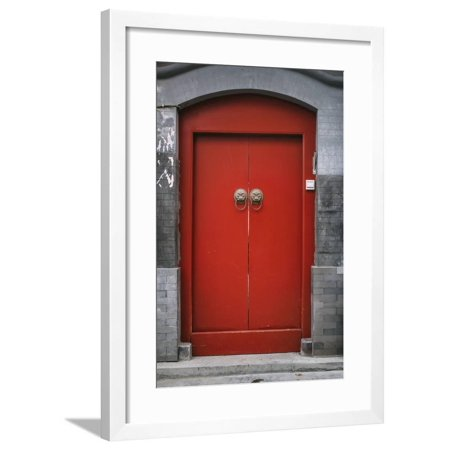Chinese Antique Door in Beijing Hutong Framed Print Wall Art By long8614