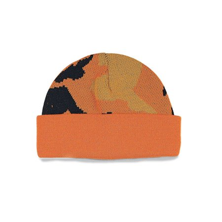 CAMOUFLAGED KNITTING CAP - Orange Camouflage Blaze Orange Camo Cap