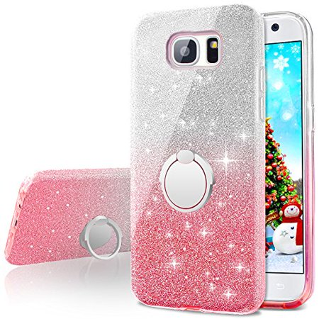 huge inventory 92f36 21f7f Galaxy S7 Case, Girls Bling Glitter Sparkle Cute Phone Case With 360  Rotating Ring Stand, Soft TPU Outer Cover + Hard PC Inner Shell Skin for  Samsung ...