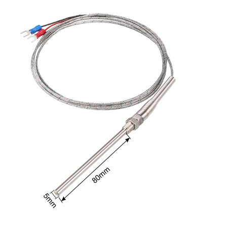 K Type Thermocouple Ressort Sonde capteur température 1.5M Cable 5x80mm Sonde - image 2 de 3