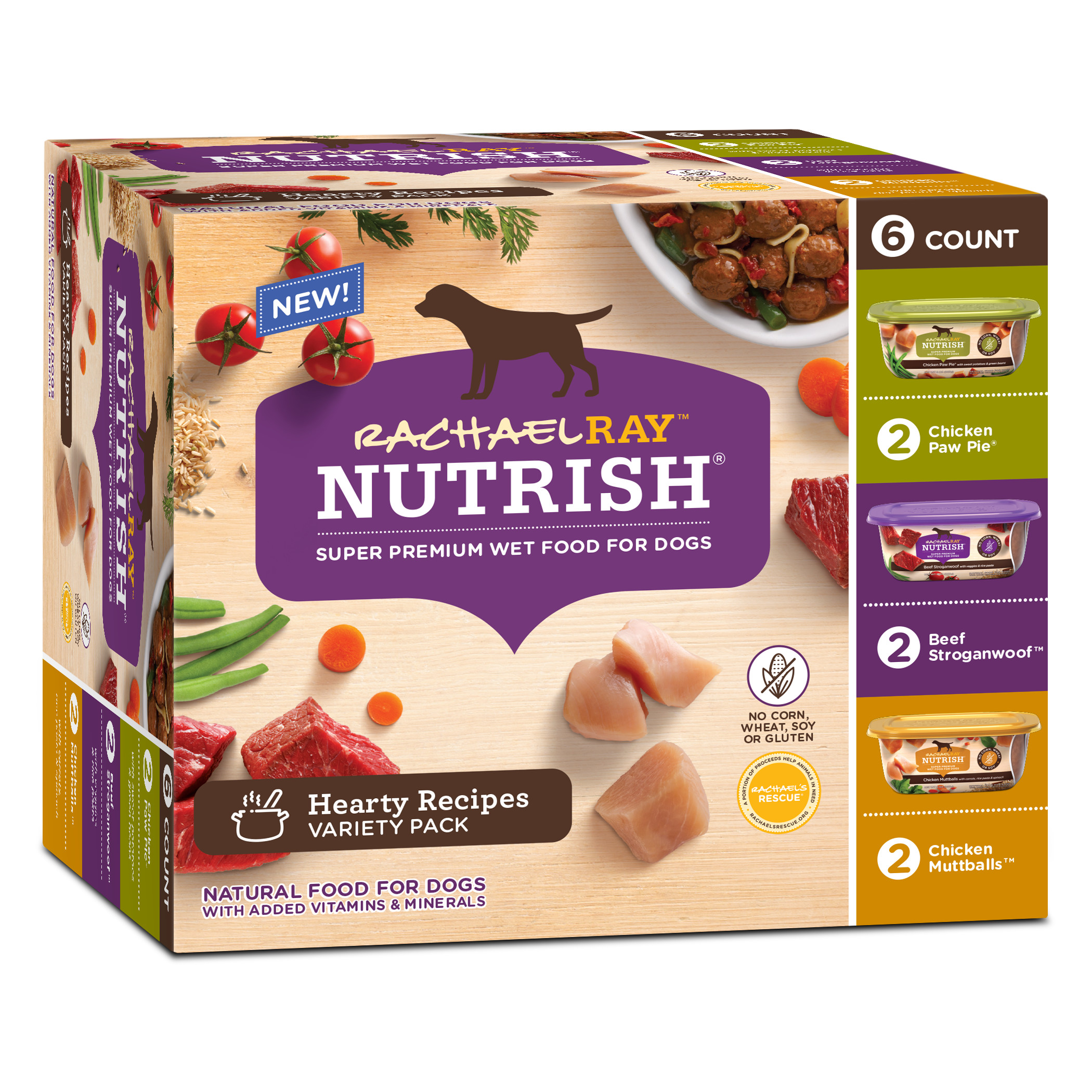 Rachael Ray Nutrish Natural Wet Dog Food, Hearty Recipes Variety Pack, 8 oz tubs, Pack of 6