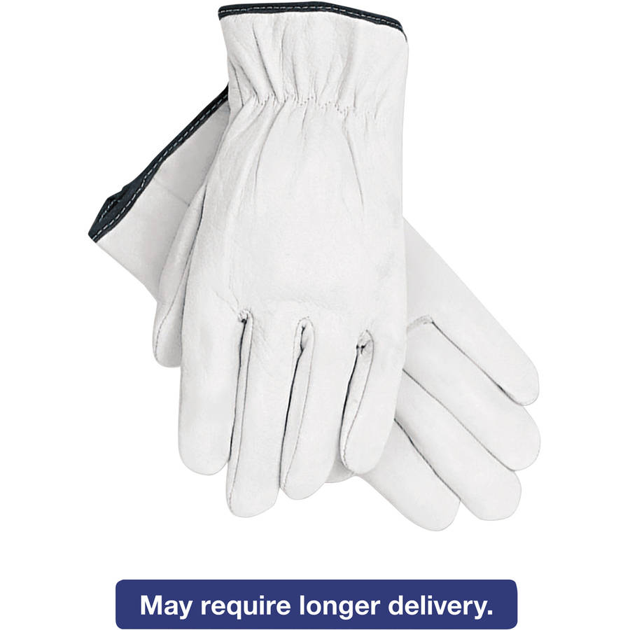 Memphis Grain Goatskin Driver Gloves, White, Extra-Large, 12 Pairs