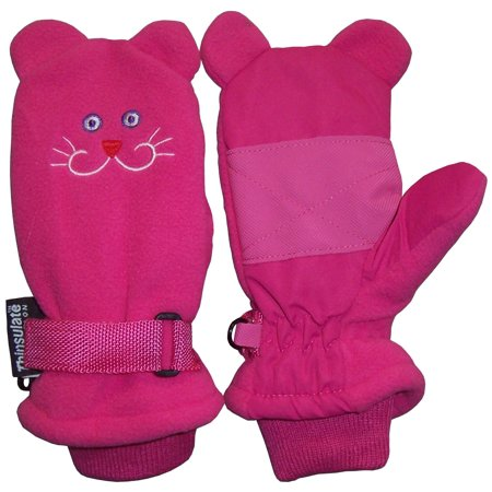 Face Mittens (NICE CAPS Little Girls Fuchsia Waterproof and Thinsulate Lined Insulated Kitty Face Winter Snow Mitten - Fits Toddler Children Kids Child Youth Sizes For Cold Weather )