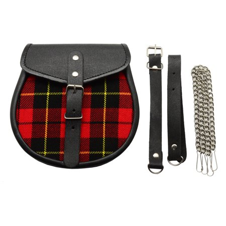 Red And Black Plaid Scottish Celtic Leather Kilt Highlander Sporran w/Chain&Belt