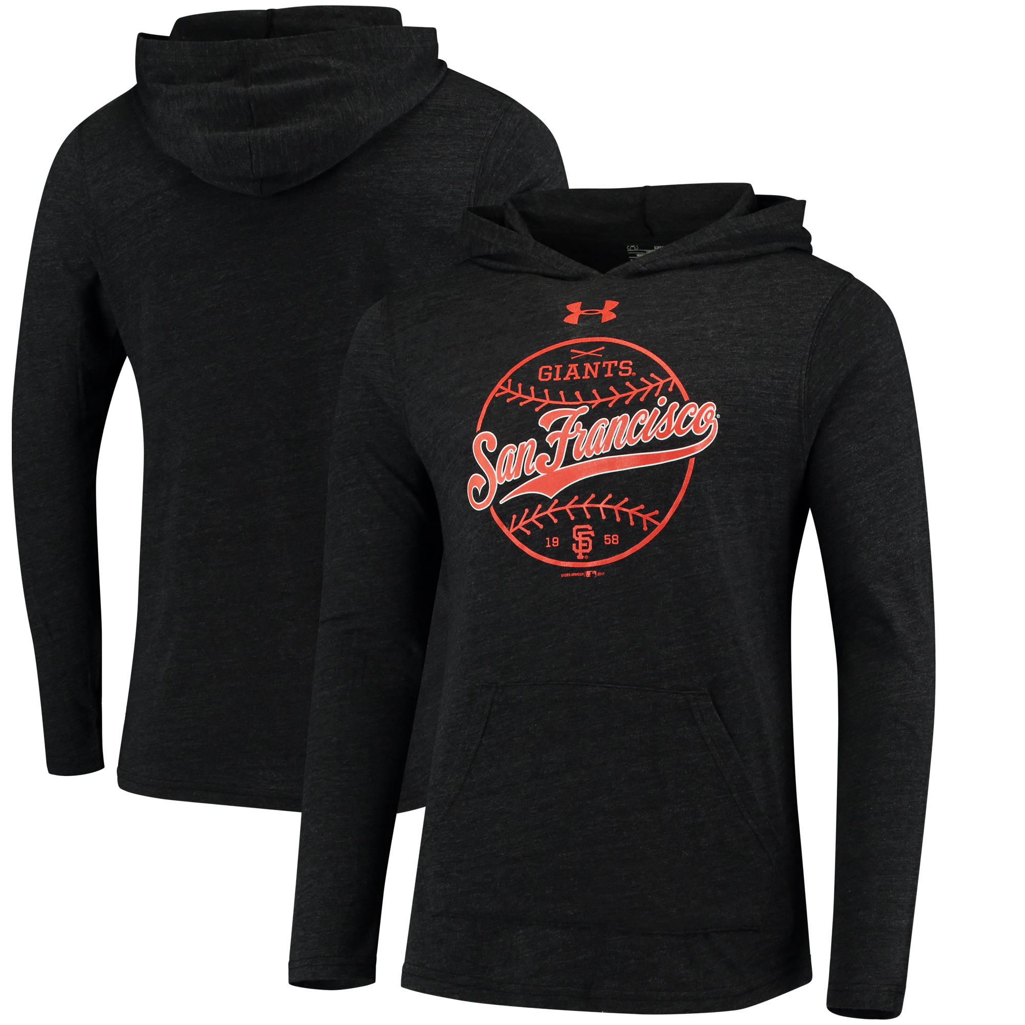 San Francisco Giants Under Armour Tri-Blend Pullover Hoodie - Black
