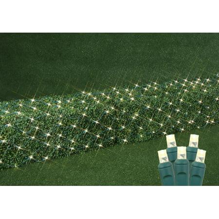 Novelty Lights 100 Light Commercial Grade Christmas LED Net Light Set, Warm White, Green Wire, 2' X 10' ()