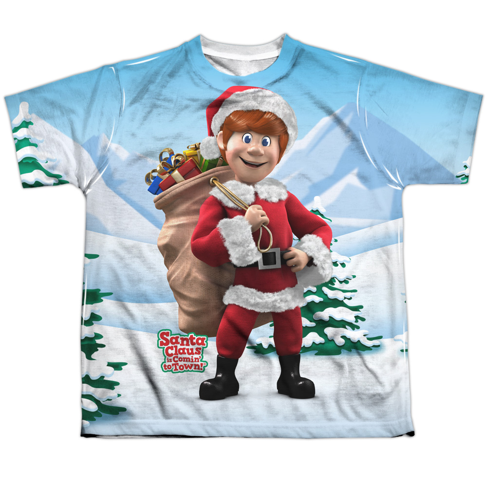 Santa Claus Is Comin To Town Helpers Big Boys Sublimation Shirt