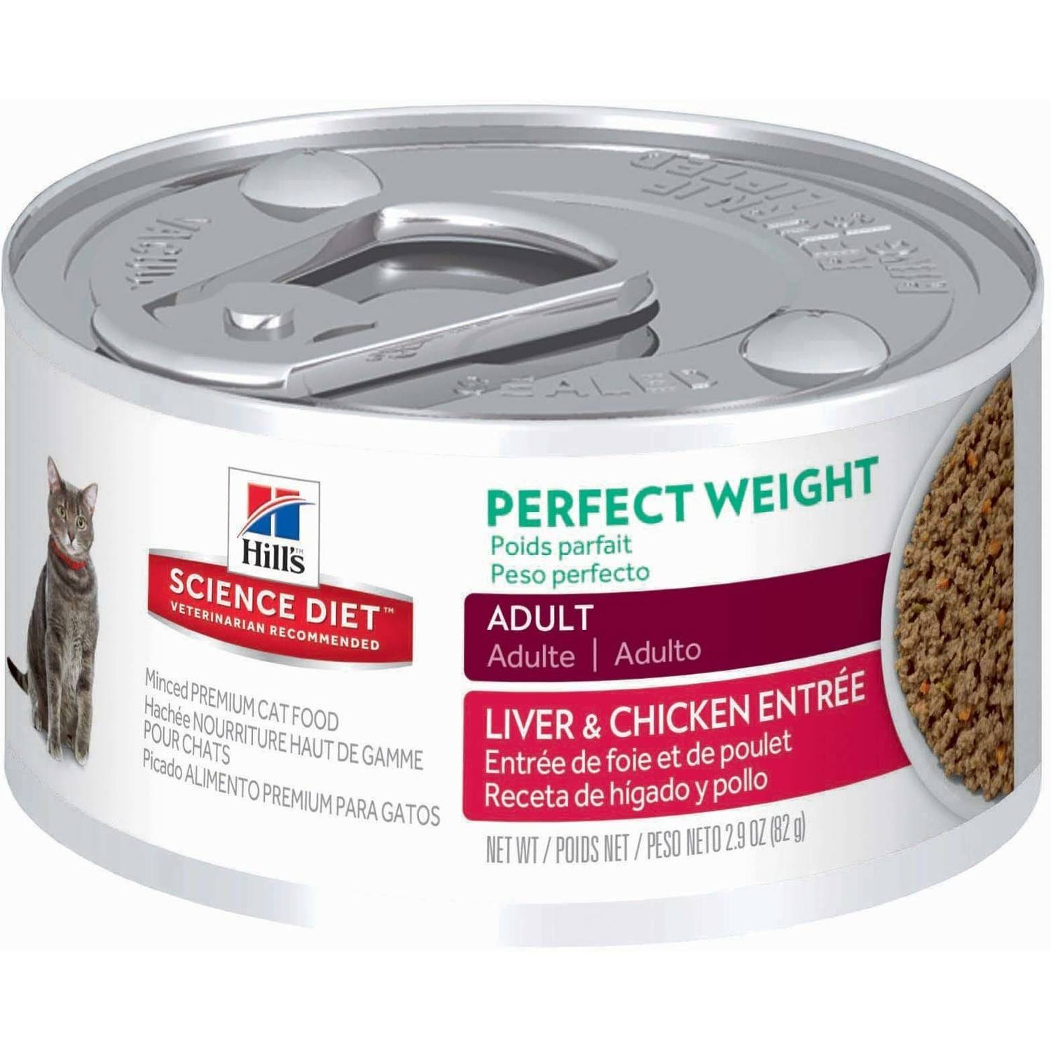 Hill's Science Diet (Get $5 back for every $20 spent) Adult Perfect Weight Liver & Chicken Entrée Canned Cat Food, 2.9 oz, 24-pack