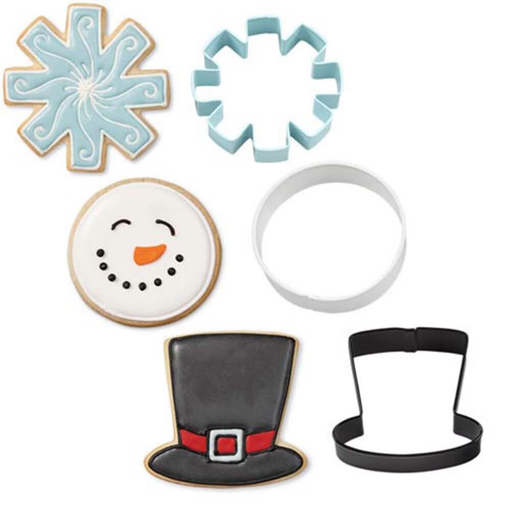 Wilton Industries 2308-5072 3-Piece Christmas Snowman Metal Cookie Cutter Set Multi-Colored