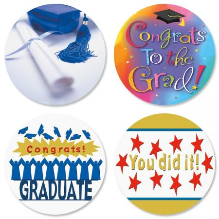 Graduation Envelope Seals (Graduation Envelope Seals - Set of 24 (4 designs) sticker seals on 8-1/2