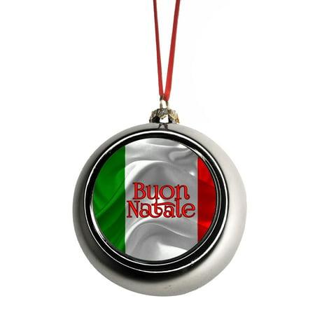 Buon Natale Ornament.Flag Italy Buon Natale Ornaments Silver Bauble Christmas Ornament Balls