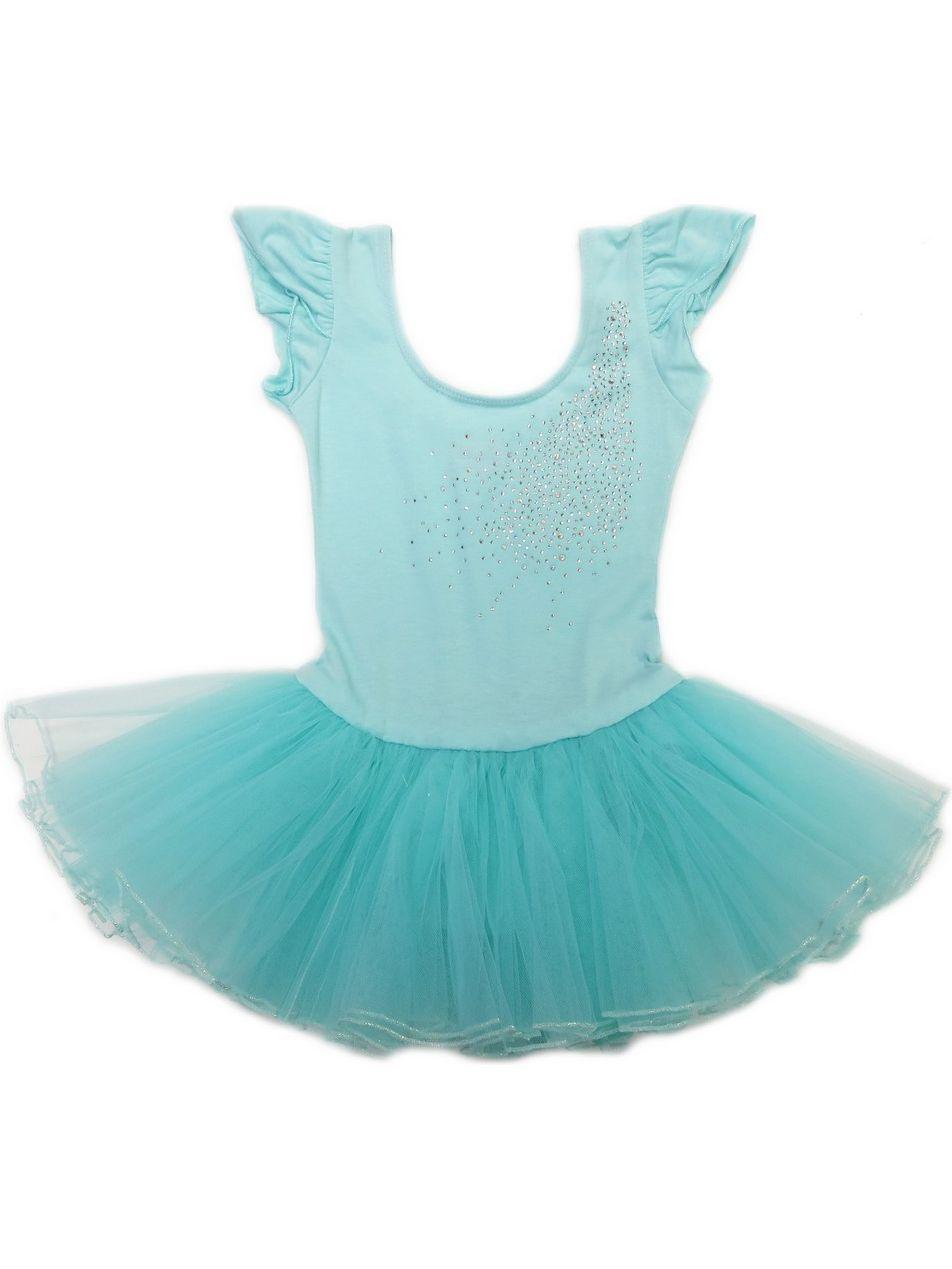 Wenchoice Girls Mint Rhinestone Bow Accent Tutu Ballet Dress