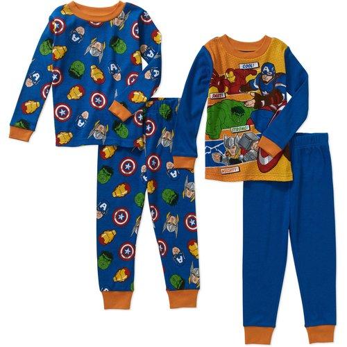 Avengers Toddler Boy Cotton Tight Fit Pajamas 4pc Set