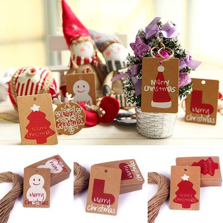 Girl12Queen 50Pcs Christmas Party Decor Kraft Paper Tags DIY Craft Label Hanging - Diy Paper Ornaments