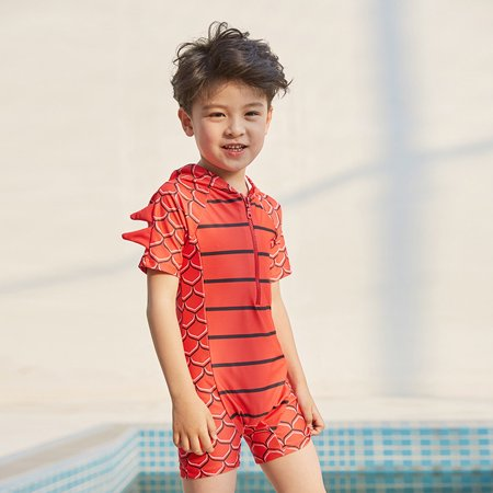2019 fashion Child Baby Boys Dinosaur Hooded bathing suit Short Sleeve Pool Beach Swimwear - Dinosaur Suit Rental