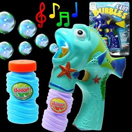 Fish Bubble Gun   Light Up Blue Tang Fish Bubble Shooter Blaster With Led Lights And Music