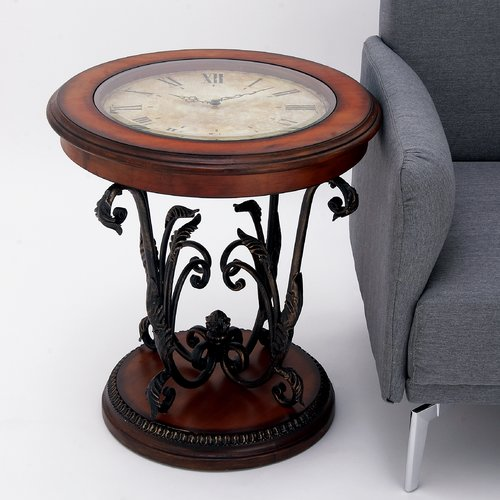 EC World Imports Casa Cortes Round Clock Coffee and End Table by EC World Imports