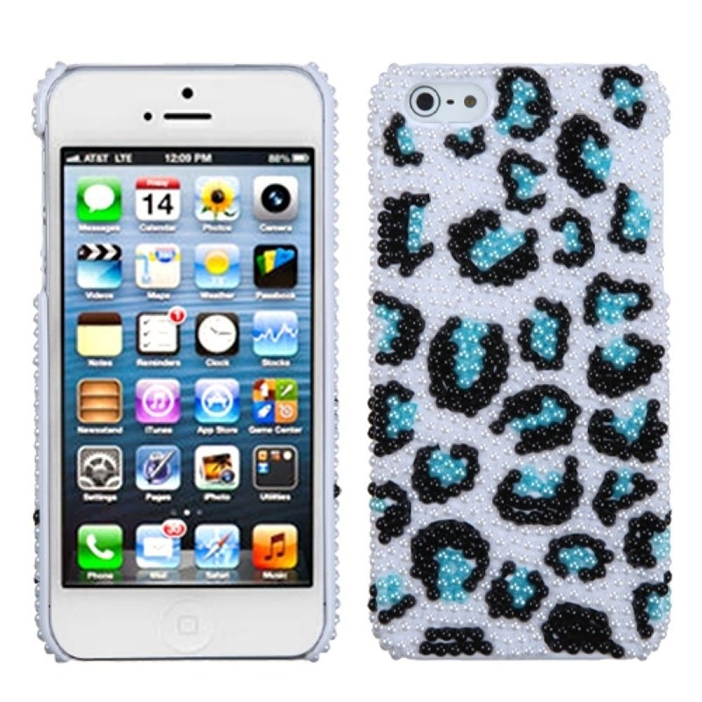 Insten Leopard Hard Bling Case For Apple iPhone 5/5S/SE - White/Blue
