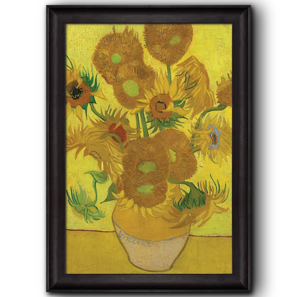 wall26 - Vase with Fifteen Sunflowers by Vincent Van Gogh - Oil Painting, Impressionist, Artist - Framed Art Prints, Home Decor - 16x24 inches