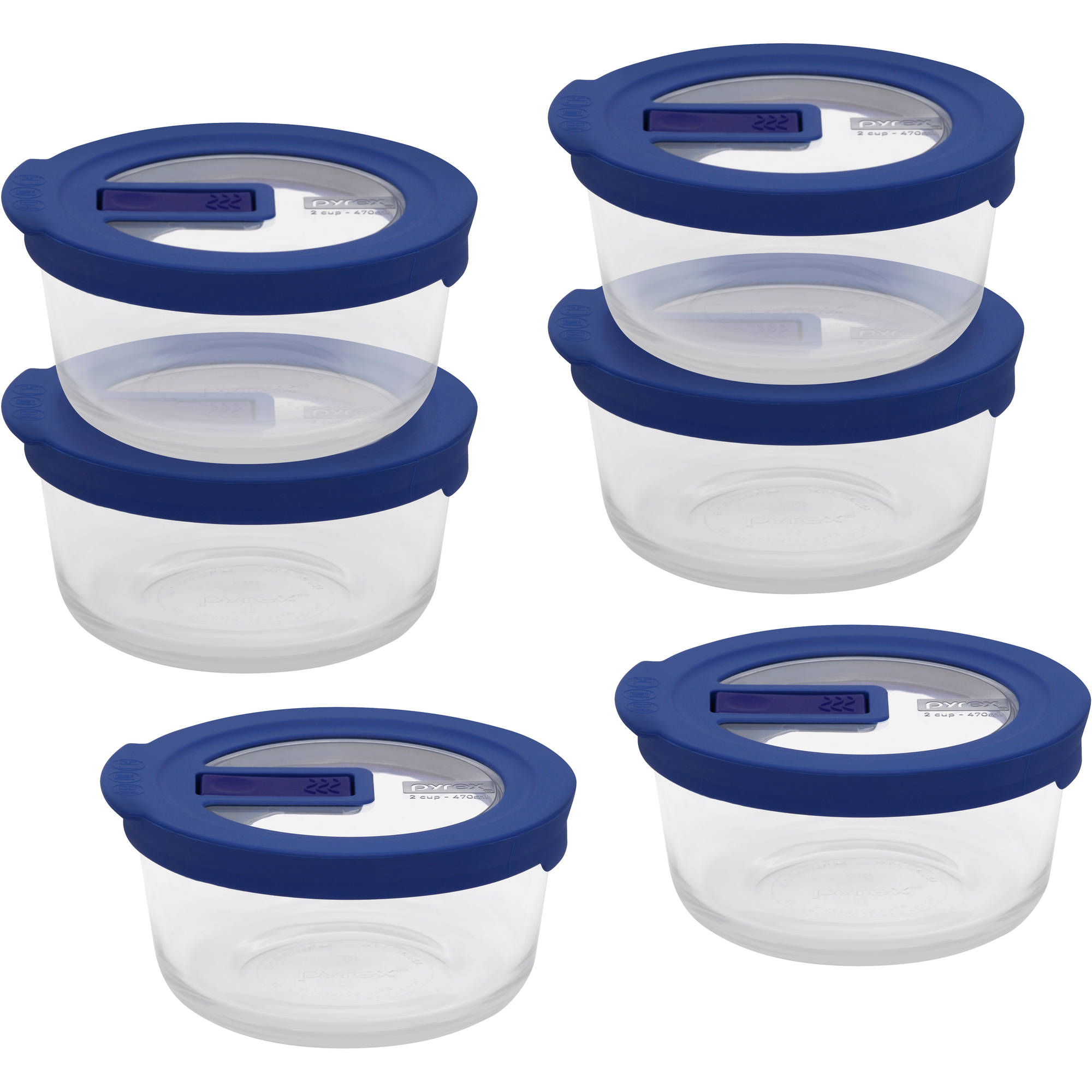Pyrex No-Leak Clear 2-Cup Round Storage Container, Set of 6