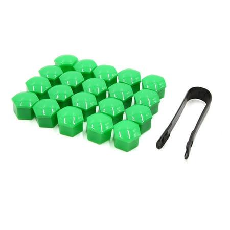 20pcs 17mm Green Plastic Car Wheel Nut Lug Hub Covers Dust Protect Cap w -