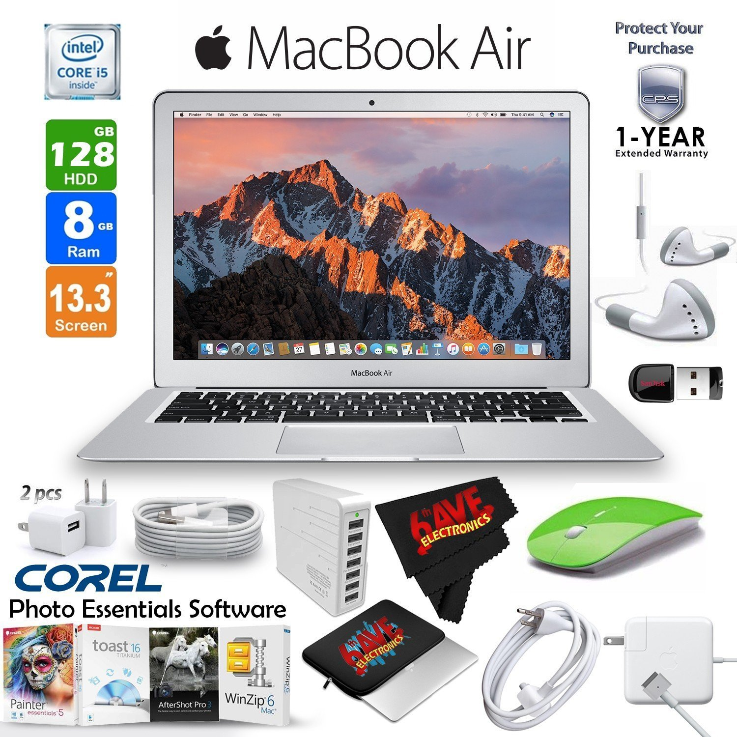 """Apple 13.3"""" MacBook Air 256GB SSD + Blue 2.4 GHz Slim Optical Wireless Bluetooth Mouse + 3 Foot Lightning USB Cable (1 Meter) + 1-Year Extended Warranty Bundle"""
