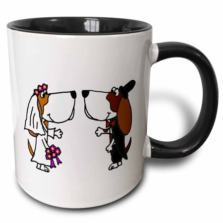3dRose Funny Basset Hound Dogs Bride and Groom Wedding Cartoon - Two Tone Black Mug, 11-ounce for $<!---->