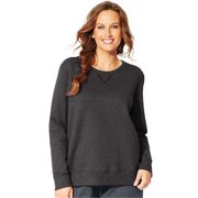OJ098 Comfortsoft Eco Smart V-Notch Crewneck Womens Sweatshirt, Slate Heather - 4XL
