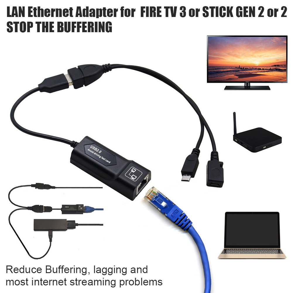 RONSHIN Buffering Reducing LAN Ethernet Adapter for  FIRE TV 3 or Stick GEN 2