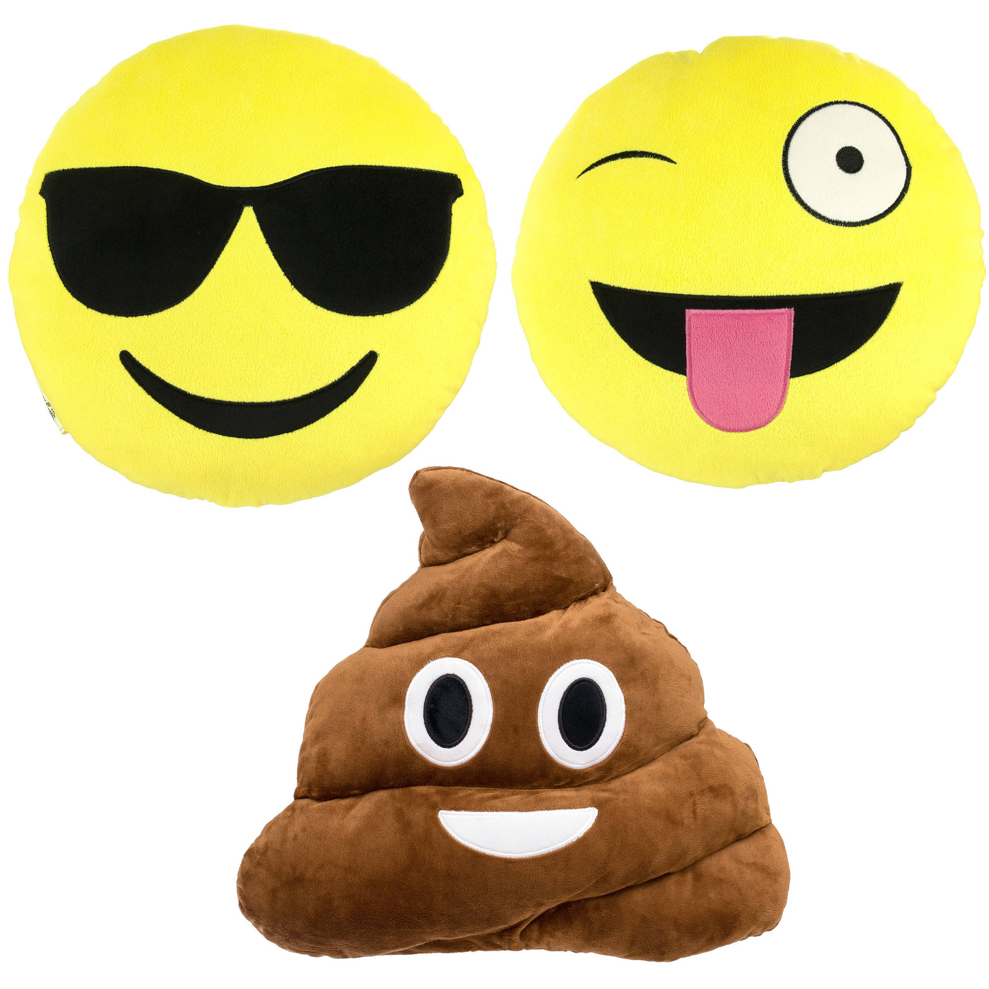 Emoji Expressions 3-Piece Emoji Pillow Set
