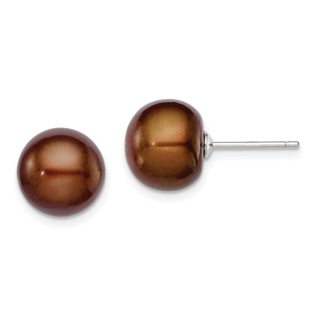 11mm Pearl Earrings - 925 Sterling Silver 11mm Brown Freshwater Cultured Button Pearl Stud Ball Earrings Fine Jewelry Ideal Gifts For Women Gift Set From Heart