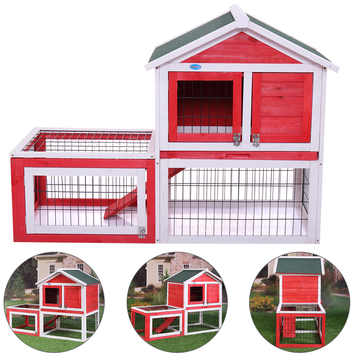 "53"" Wooden Rabbit Hutch Bunny House Small Animal Habitat w  Backyard Run Ramp by Jaxpety"