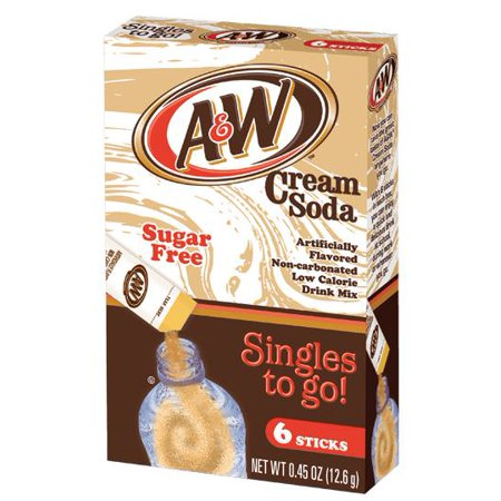 - (6 pack) A&W Cream Soda Drink Mix Singles To Go! 6-ct box