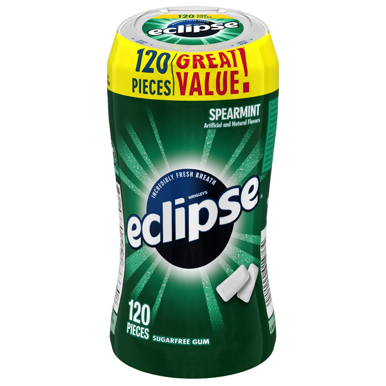 (2 Pack) Eclipse, Sugar Free Spearmint Chewing Gum, 120 Pcs