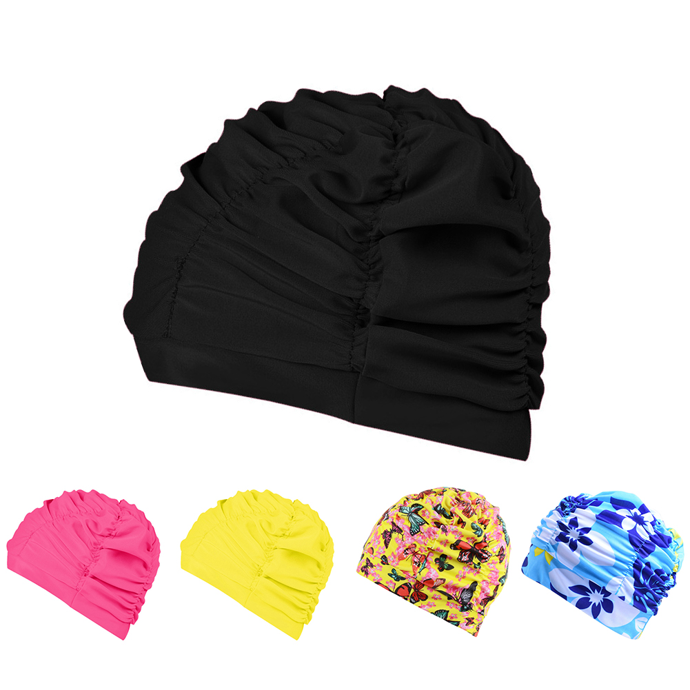 Heepo Adult Sports Swim Cap Flexible Ear Long Hair Protector Elasticity Swimming Hat