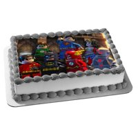 Lego Superhero 2 Marvel Wonder Woman Batman Superman The Flash Green Lantern Robin Edible Cake Topper Image
