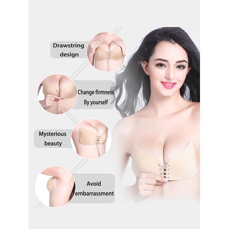 efdd7202af iClover Adjustable Nude Self Adhesive Invisible Backless Push-up Bra Wing  Shape Gel Strapless Reusable ...